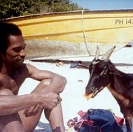 Sharing a Mango with a Jamaican Goat